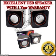 Dynamic USB 6 WATTS Multimedia Laptop Desktop Notebook 2.0 Stereo Speaker