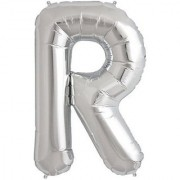 Stylewell 16 Inch Alphabet (R) Soild (Silver) Color 3D Foil Balloons For Birthday And Anniversary Parties Decoration