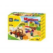 Joc constructie Blocki mubi, Ferma+tractor, 34 piese