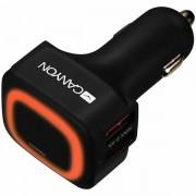 CANYON Universal 4xUSB car adapter, Input 12V-24V, Output 5V-4.8A, with Smart IC, black rubber coating orange LED CNE-CCA05B