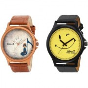 Gen-Z Trendy Graphic Leather Strap Smilie Music Combo of 2 watches for Men GENZ-CO-MUS-SMI
