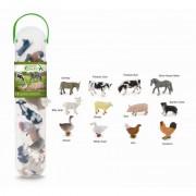 Set 12 figurine animale de la ferma Collecta, plastic cauciucat, cutie inclusa, 3 ani+