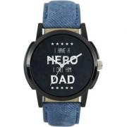 New Lorem Blue Hero Leather Belt Latest Designing Stylist Analog Watch For Men Boys