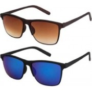 Eyevy Wayfarer, Retro Square, Rectangular, Clubmaster, Aviator Sunglasses(Blue, Brown)
