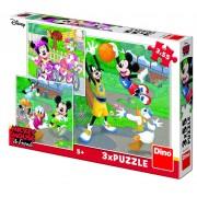 Puzzle 3 in 1 Mickey si Minnie sportivii, 55 piese, 5-8 ani