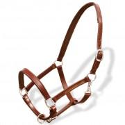 vidaXL Cabresto ajustável em couro verdadeiro para cavalo castanho
