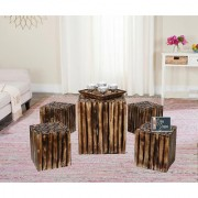 Onlineshoppee Wooden Square Shaped Coffee Table 4 Stool (LxBxH-16x16x16) Inch