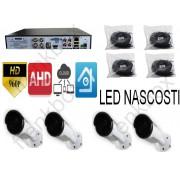 Kit videosorveglianza AHD 960p DVR cavi e 4 telecamere LED INVISIBILI AL BUIO