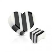 16 mm Double-flared plug zwart/wit hart