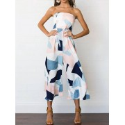 Strapless Color Block Jumpsuit With Wide Leg
