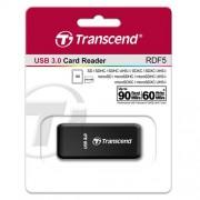 CARD READER, Transcend, USB3.0, SD, microSD Single-Lun, Black (TS-RDF5K)