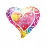Balon folie inima multicolor Happy Birthday 45cm