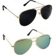 Pogo Fashion Club Cat-eye, Aviator Sunglasses(Black, Golden, Green, Multicolor)
