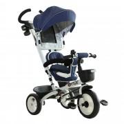 Homcom Triciclo Passeggino per Bambini con Maniglione Tetto Parapioggia Regolabile e Cestino, Blu