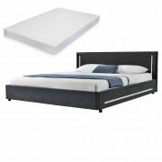[my.bed] Elegantná manželská posteľ s LED osvetlením - matrac zo studenej HR peny - 180x200cm (Záhlavie: koženka čierna / Rám: textil čierna) - s roštom
