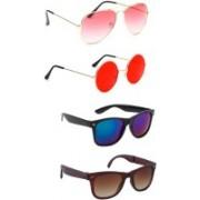 Elligator Aviator, Round, Wayfarer Sunglasses(Pink, Red, Blue, Brown)