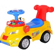 Baby Steps Pushing Ride on Car with Toys, Sounds and Music - Yellow