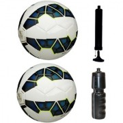 Kit of 2 Premier League Blue/White Football (Size-5) with Air Pump & Sipper