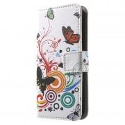 Carteira para iPhone 5 / 5S / SE - Borboletas / Círculos