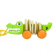 Timy Crocodile Wooden Pull Along Walking Toy for Toddler Baby