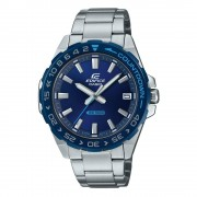 Casio - Orologio Edifice analogico con cinturino e cassa in acciaio silver, quadrante e ghiera blu -