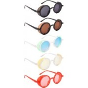 NuVew Round, Shield Sunglasses(Black, Brown, Green, Blue, Yellow, Red)