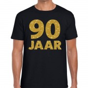Bellatio Decorations 90 jaar goud glitter verjaardag kado shirt zwart heren