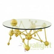 Masa de cafea design modern din metal finisaj auriu Galileo diam.100cm 110177 HZ