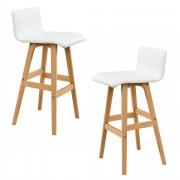 [en.casa]® Bárszék Győr design kárpitozott konyhai szék 2 darabos szett műbőr 98 x 48 cm fehér