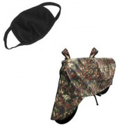 Spidy Moto Combo Of Water Resistant Army Military Print Bike Body Cover+Anti Dust Cotton Mouth/Face Mask Universal Bike