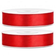 Merkloos 2x Hobby/decoratie rode satijnen sierlinten 1,2 cm/12 mm x 25 meter