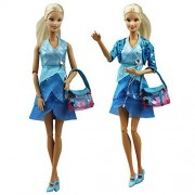 Set Of 4 Fashion Blue Princess Casual Wear Daily Dress Outfit For Barbie Clothes Xmas Gift