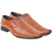 Axonza AXONZA Mens' 405 Tan Slip on Office/Party wear Synthetic leather Formal Shoes Casuals For Men(Tan)