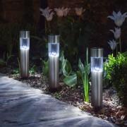 4 db Kerti napelemes LED Robert oszlop lámpa világítás 20 cm hideg fehér
