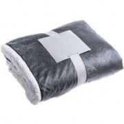 Merkloos Luxe pluche deken/kleed grijs 125 x 160 cm