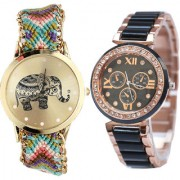 Neutron New Quartz Elephant Analogue Multi Color And Black Color Girls And Women Watch - G157-G209 (Combo Of 2 )
