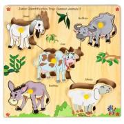 Skillofun Junior Identification Tray Common Animals I with Knobs, Multi Color