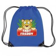 Bellatio Decorations Fast Freddy het jachtluipaard trekkoord rugzak / gymtas blauw voor kinderen