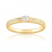 MATY Bague solitaire or 750 jaune diamant 30/100e de cart
