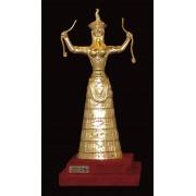 """Ръчно изработена статуетка с 22 карата златно покритие """"Минойска богиня със змии"""" (A001)"""