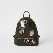 River Island Girls Khaki badge embellished backpack (One Size)