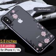 KAVARO Floret Swarovski Rhinestone Case Plated PC Protection Phone Cover for iPhone XS 5.8 inch - Black