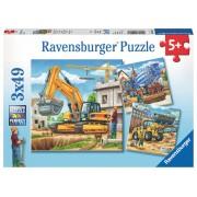 Puzzle 3 in 1 - Vehicule de constructie, 147 piese