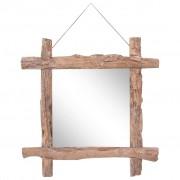 vidaXL Espelho de troncos 70x70 cm madeira recuperada maciça natural
