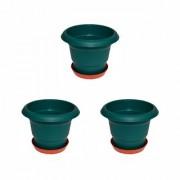 Crete Pvc Green and rust Planter ( Set Of 3 Pcs )