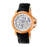 Heritor Automatic McKinley Leather-Band Skeleton Watch - Rose Gold/Silver HERHR4005
