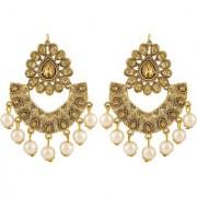 Asmitta Classy Chandbali Shape Gold Plated Dangle Earrings For Women