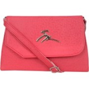 AANIA HAUTE Women Casual Red Leatherette, Cotton Sling Bag