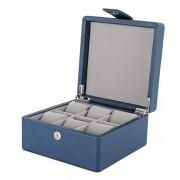 Alucy Caja de Almacenamiento del Reloj, Caja de Almacenamiento del Reloj de Lujo de 6 Ranuras, Organizador de exhibición de la Caja de Almacenamiento del Reloj práctico de Cuero de la PU con(Azul)