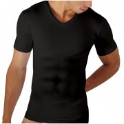 Papi Six Pack Shapewear Compression V Neck Short Sleeved T Shirt Black 626827B